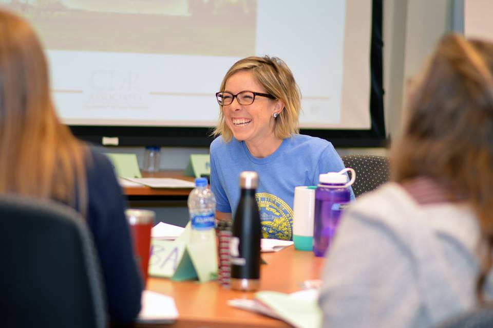 Brianne Wolf, SNR graduate student and Global Engagement administrative associate, laughs during group discussion during the Environmental Conflict Management short-course in September 2018. | Shawna Richter-Ryerson, natural resources