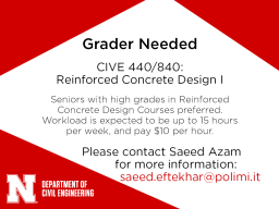 CIVE 440/840 Grader needed