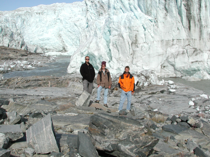 (From left) William D'Andrea, Sherilyn Fritz and Fritz's former UNL Ph.D. student Frank Aebly at the edge of the Greenland Ice Sheet in July 2002, about 25 miles east of the lakes that were reported on in PNAS.