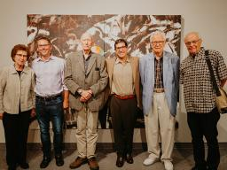 """Left to right:  Dorene Eisentrager, Aaron Holz, David Routon, Matthew Sontheimer, Dan Howard and Doug Ross at the opening reception for """"A Celebration of Painting at UNL."""" Photo by Justin Mohling."""