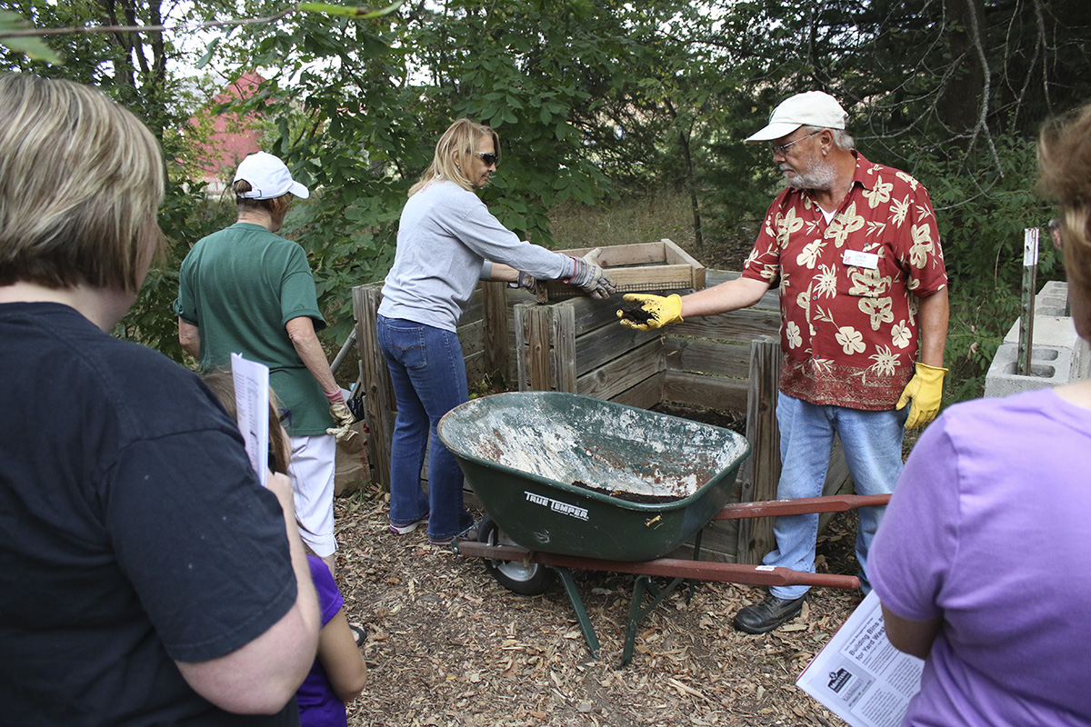 A composting demonstration led by Master Gardeners