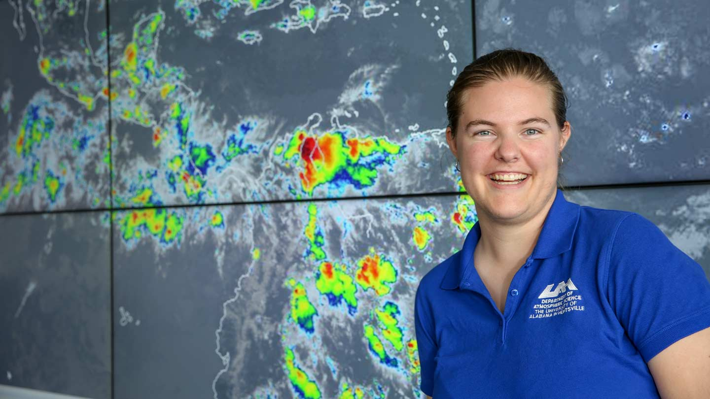 UAH Ph.D. student Lena Heuscher is using satellite-observed lightning and precipitation processes to develop markers for extreme storms. Her research efforts were recently recognized by the American Geophysical Union, which awarded her the 2018 Dr. Edmond