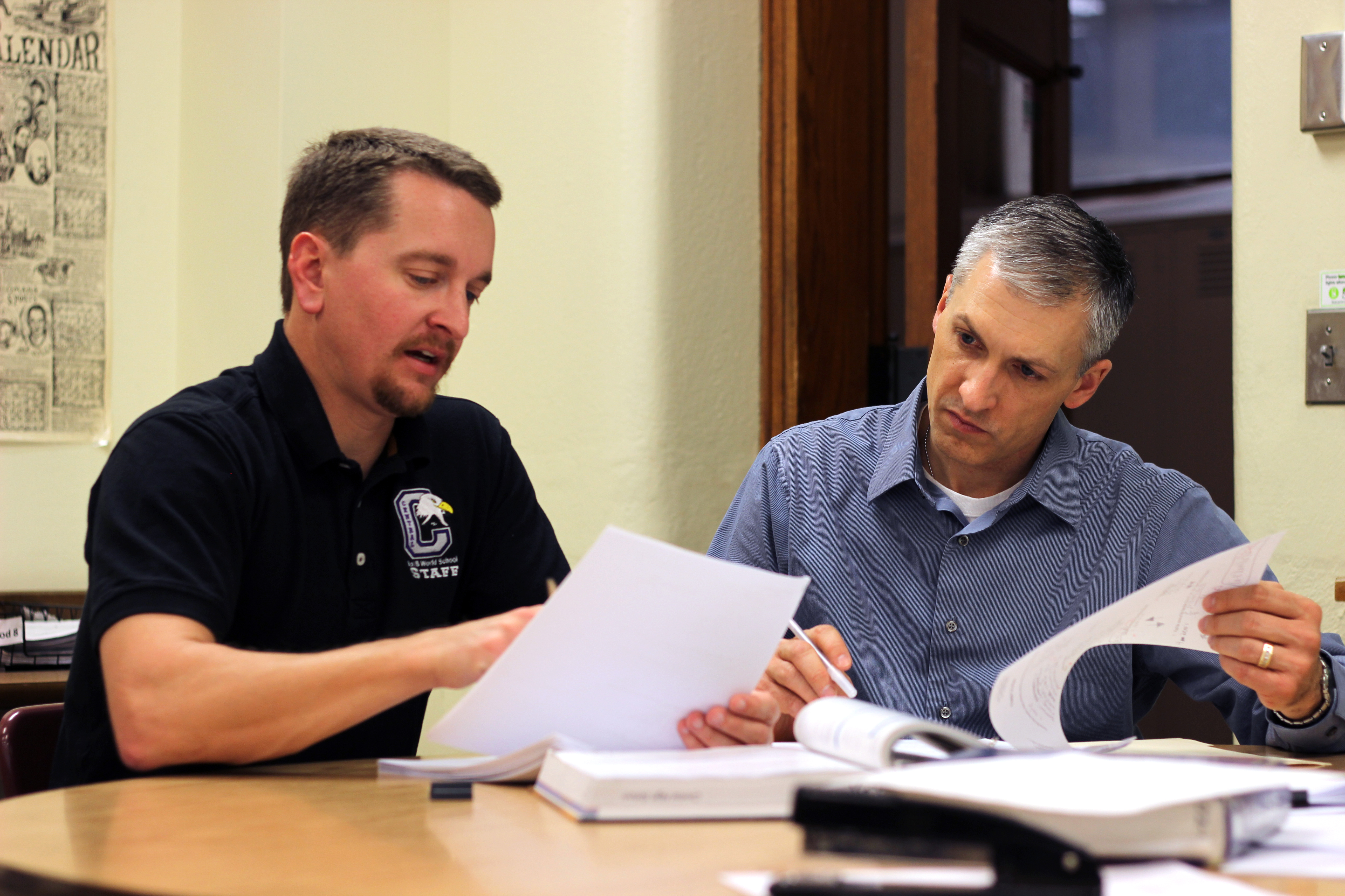 Pat Spieler (right) works with his cooperating teacher Brent Larson. UNL CSMCE