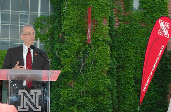 Chancellor Harvey Perlman talks during the June 8 announcement at Nebraska Innovation Campus.