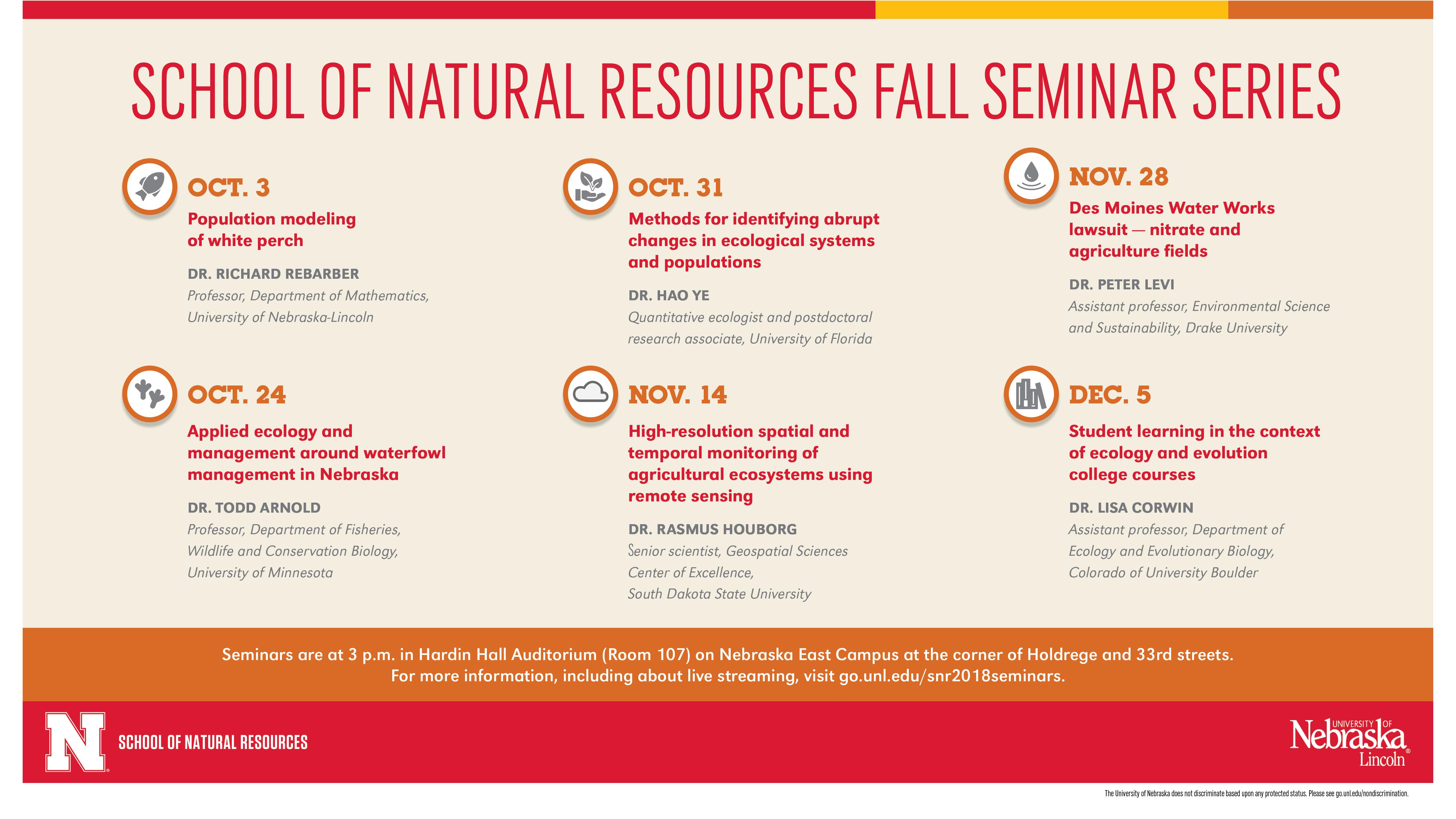 SNR Fall 2018 Seminar schedule