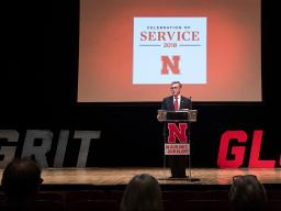 Chancellor Ronnie Green addresses the nearly 300 faculty and staff who attended the Celebration of Service in Kimball Recital Hall on Sept. 25.  |  Greg Nathan, University Communication