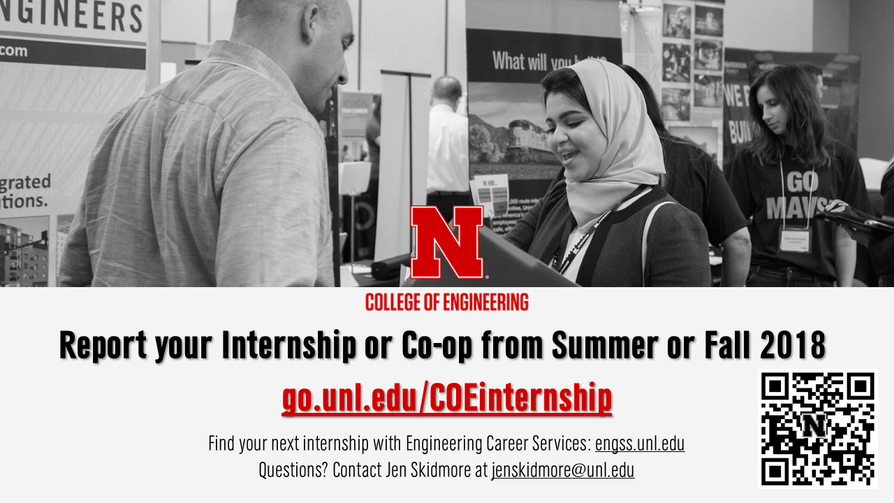 Please report your internship or co-op if you held one in Summer 2018 or Fall 2018.