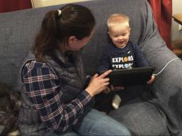 Weston video chatting with his grandmother who lives in Ohio.