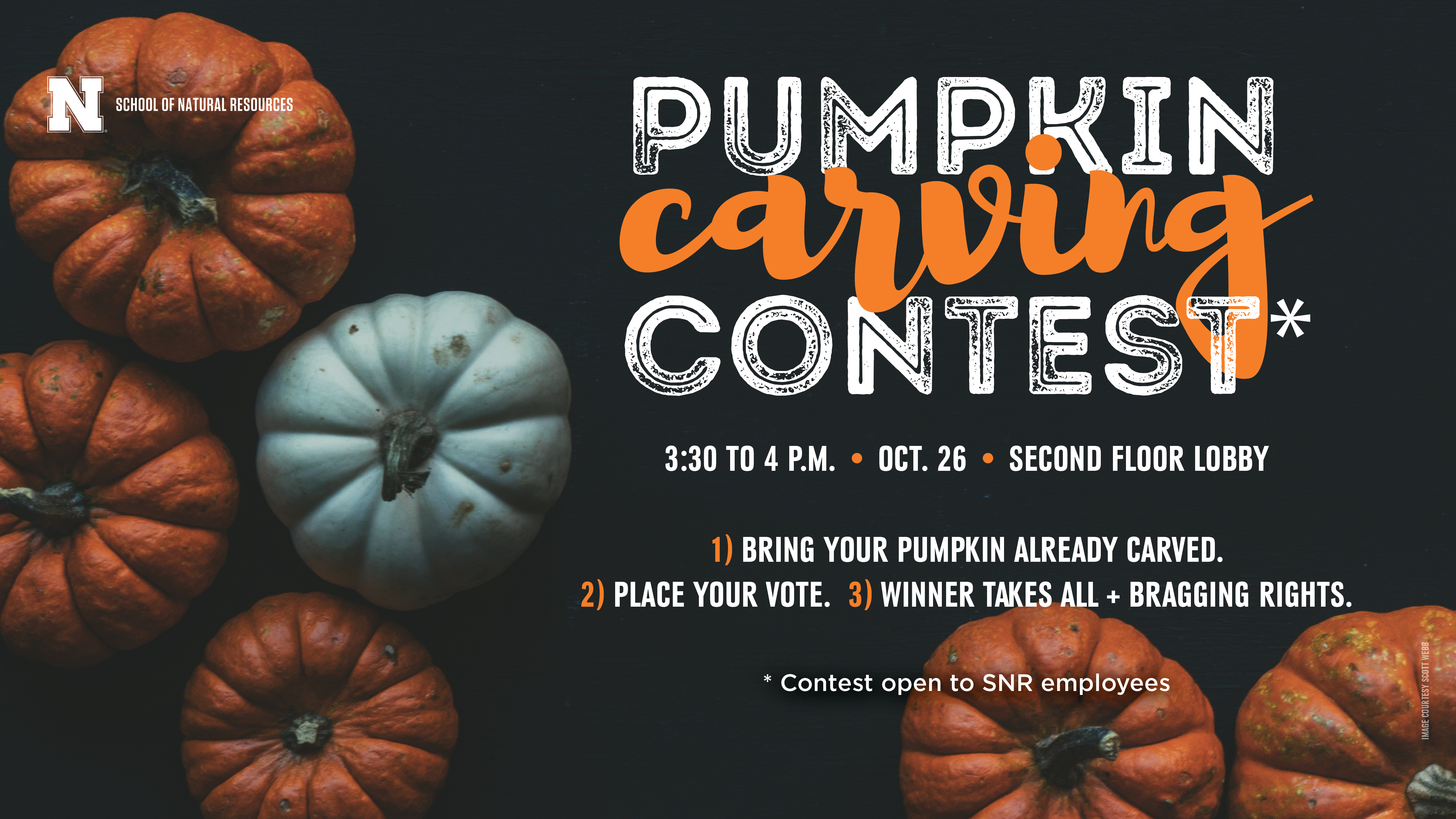 SNR pumpkin carving competition is at 3:30 p.m. Friday.