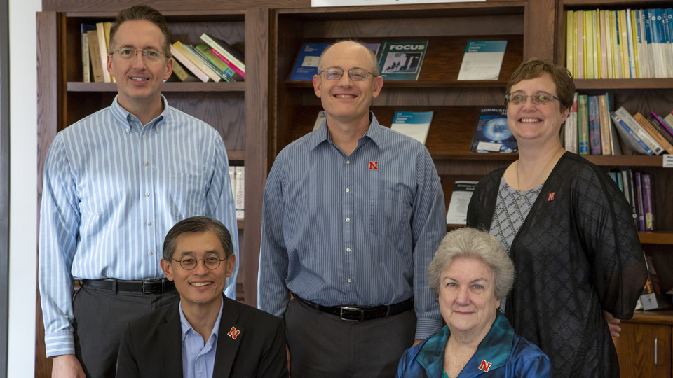 The research team includes (back row, from left) Kent Steen, Guy Trainin and Wendy Smith; (front row, from left) Leen-Kiat Soh and Gwen Nugent.
