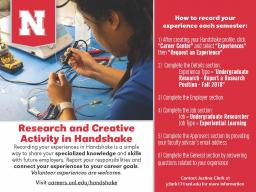 Students can record research and creative activity experiences in Handshake