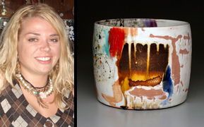 "Lauren Mabry and her pottery piece ""Cylinder."""