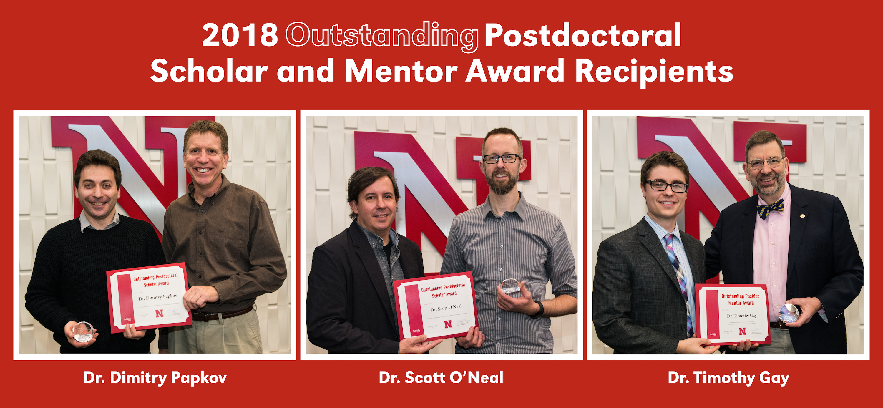 Dr. Dimitry Papkov (farthest left) and Dr. Scott O'Neal (middle right) won a Outstanding Postdoctoral Scholar Award and Dr. Timothy Gay (farthest right) won the Outstanding Postdoctoral Mentor Award during the 2018 Postdoctoral & Mentor Awards Luncheon.
