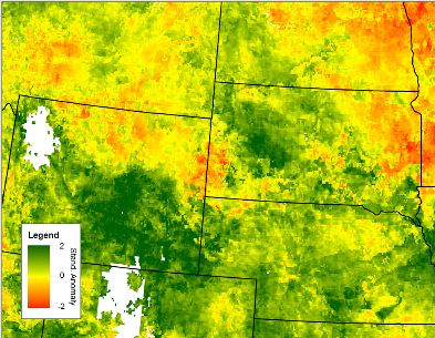 Standard anomalies of the 4-week Evaporative Stress Index  (ESI), valid April 30, 2016, over the High Plains at the beginning of a flash drought. | Courtesy Tony Mucia