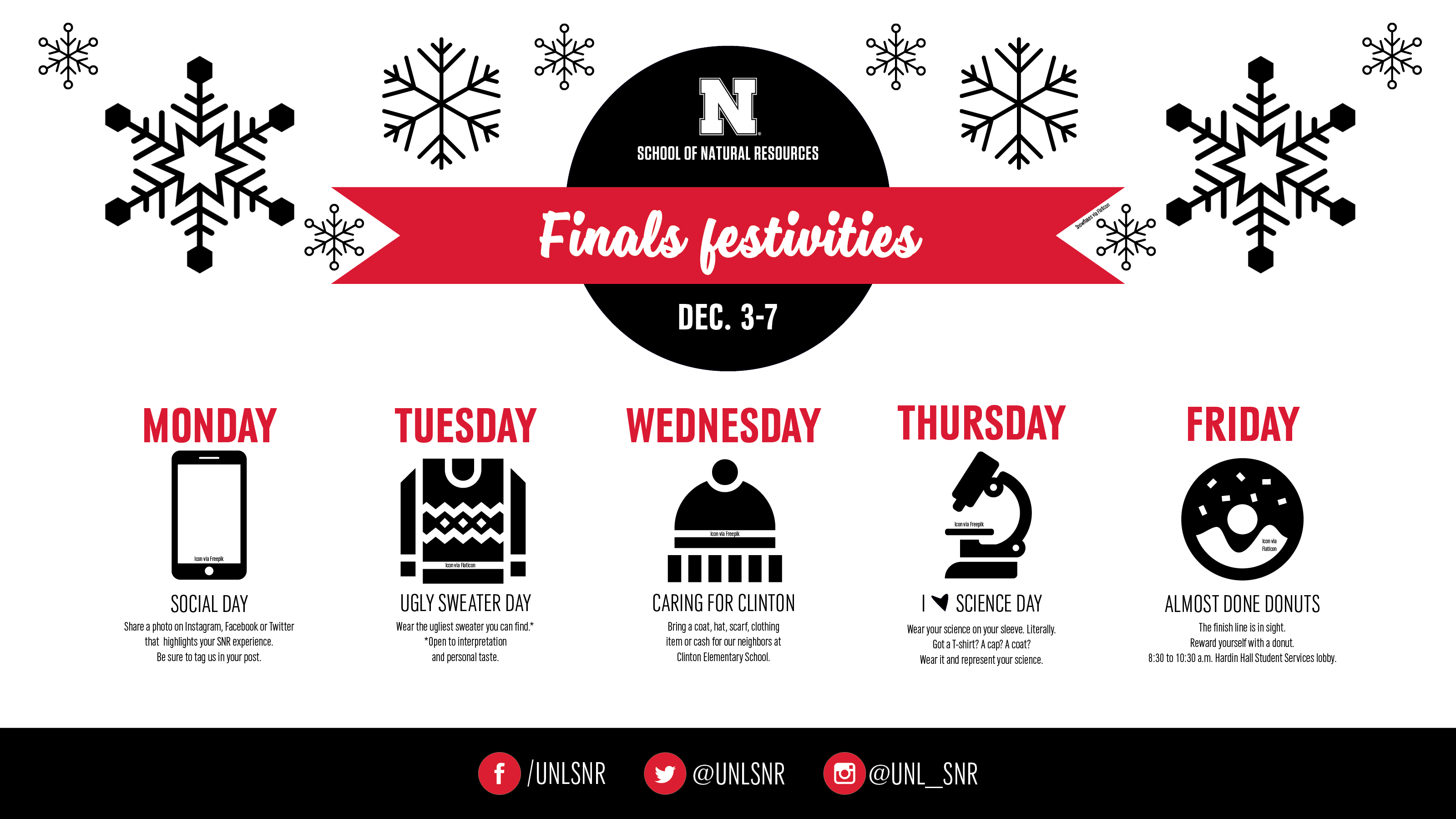 Join SNR in celebrating the near end of the semester.