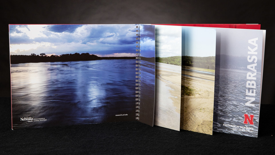 The Platte Basin Timelapse project, led by Michael Forsberg and Michael Farrell, is featured on the cover of Nebraska's 2017-18 Research Report.