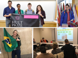 From left to right: Winning team Uhusiano poses with campus coordinator Gloria Mwiseneza; Students explore professional opportunities at the Global Opportunities Fair; IEW Flag Hunt winner Kate Strittmatter poses with the Brazilian flag; Students learn ab