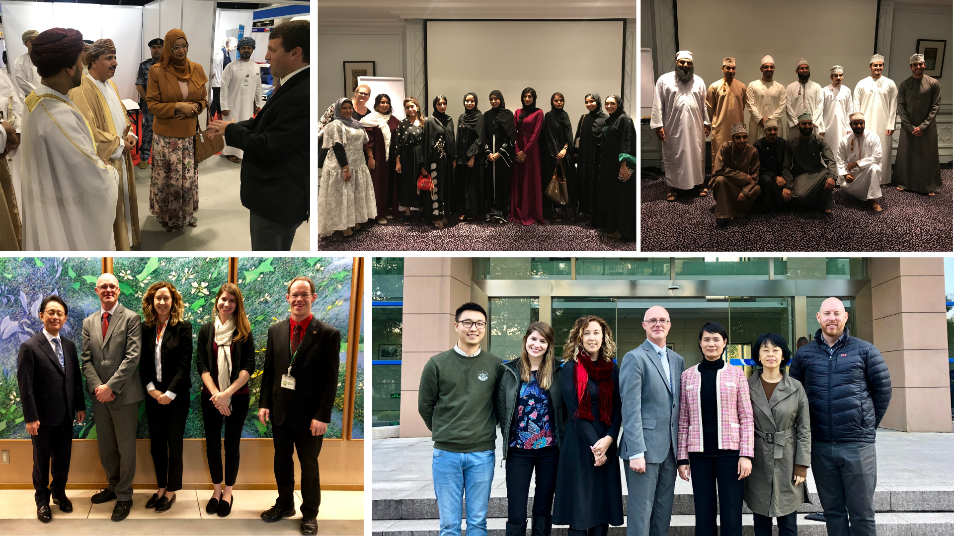 The Office of Global Strategies and PIESL staff enjoyed visiting institutional partners and prospective students in Oman (top), Japan (bottom left) and China (bottom right).