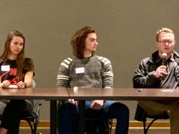 Education abroad returnees Sarah Weisbecker, Gage Mruz and Hunter Kelley share about their experiences interning abroad during the International Education Week panel.