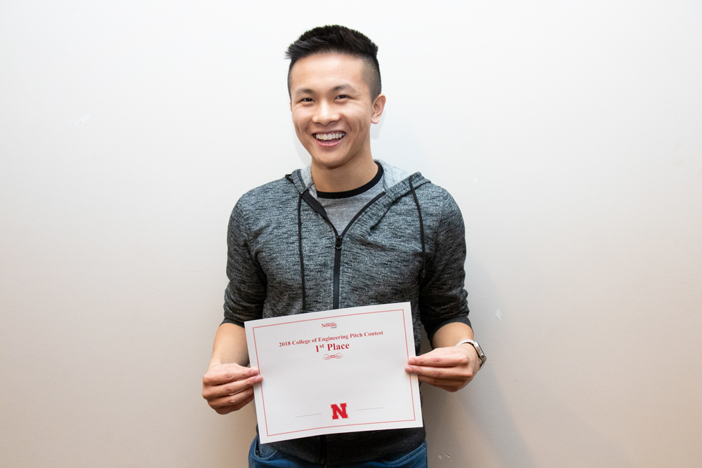 Dominic Nguyen took first place in the undergraduate student category at the inaugural Engineering Pitch Challenge.