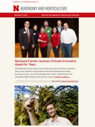 Example of the Department of Agronomy and Horticulture e-newsletter.