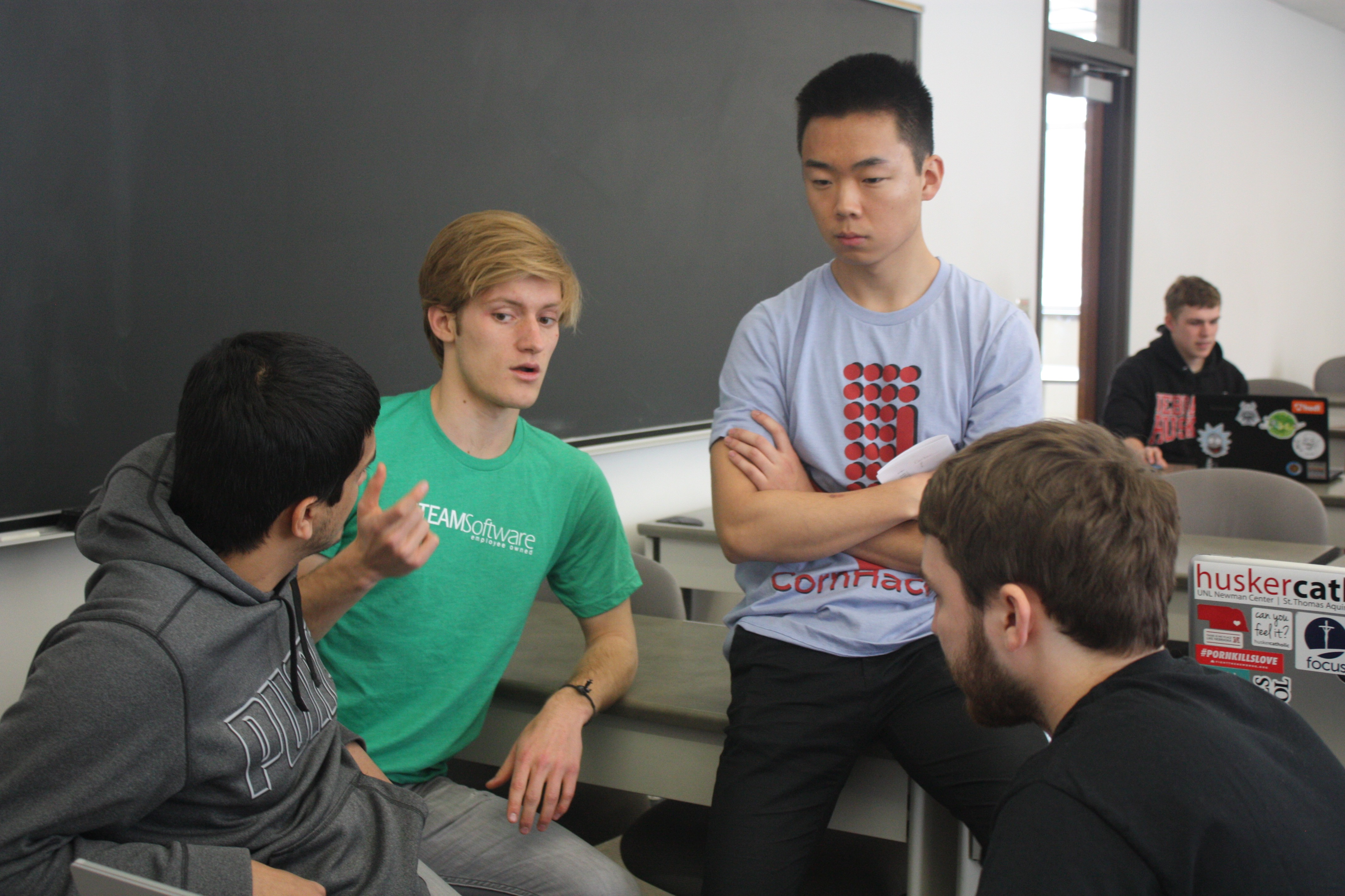 Students at the 2018 CornHacks hackathon.