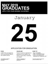 Submit your May graduation application by Jan. 25.