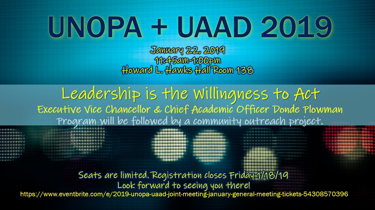 UAAD/UNOPA Joint Meeting – Tuesday, Jan 22nd – NEW LOCATION