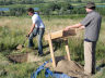 Nebraska Archaeological Survey crew members continue to excavate several prehistoric sites at Hugh Butler Lake in Frontier County. From left: Bran Mims, Steve Reynolds, Matt Marvin, and Steve Sarich. (Courtesy University of Nebraska State Museum)