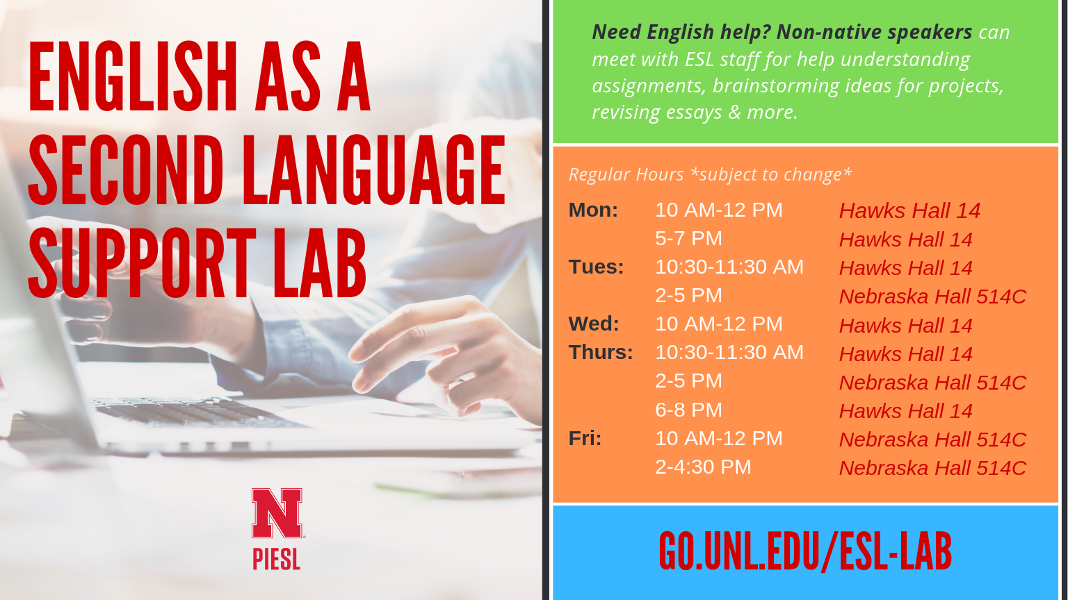 spring  english language support lab  announce  university of  piesl english support lab