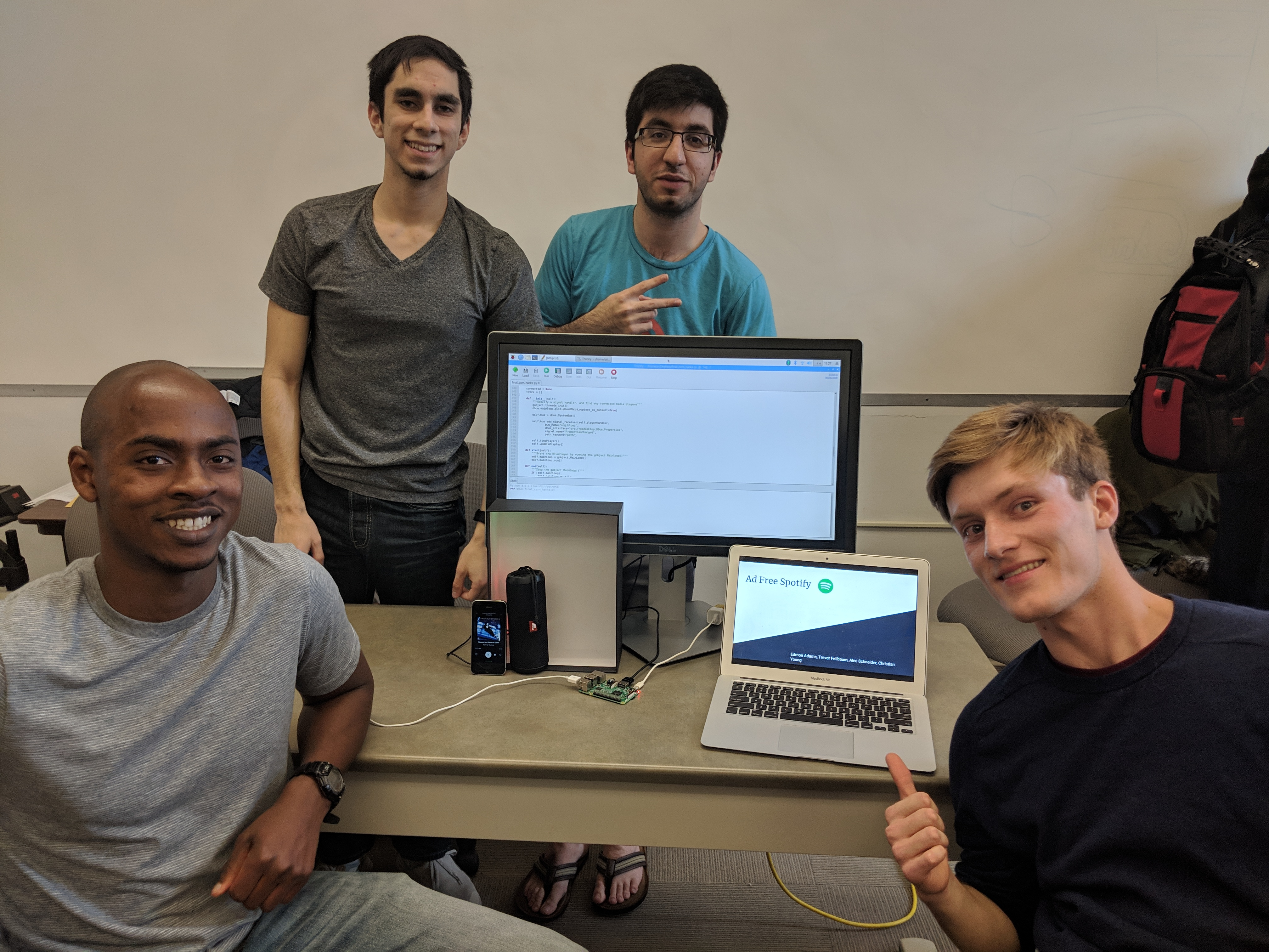 The first place winning CornHacks team, Ad-Free Spotify. Members from left to right: Christian Young, Trevor Fellbaum, Edmon Adams, and Alec Schneider.