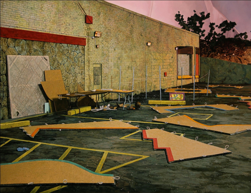 """Neil Griess, """"Placemats (Charrette), 2011,"""" 25 x 32.5 inches, oil on panel."""