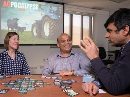 Jenny Keshwani and Jeyam Subbiah display their tabletop game AgPocalypse