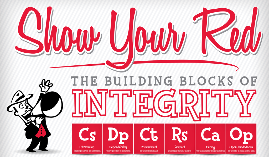 """The """"Show Your Red"""" campaign features six characters of integrity that students are encouraged to demonstrate. Those traits are citizenship, dependability, commitment, respect, caring and open-mindedness."""