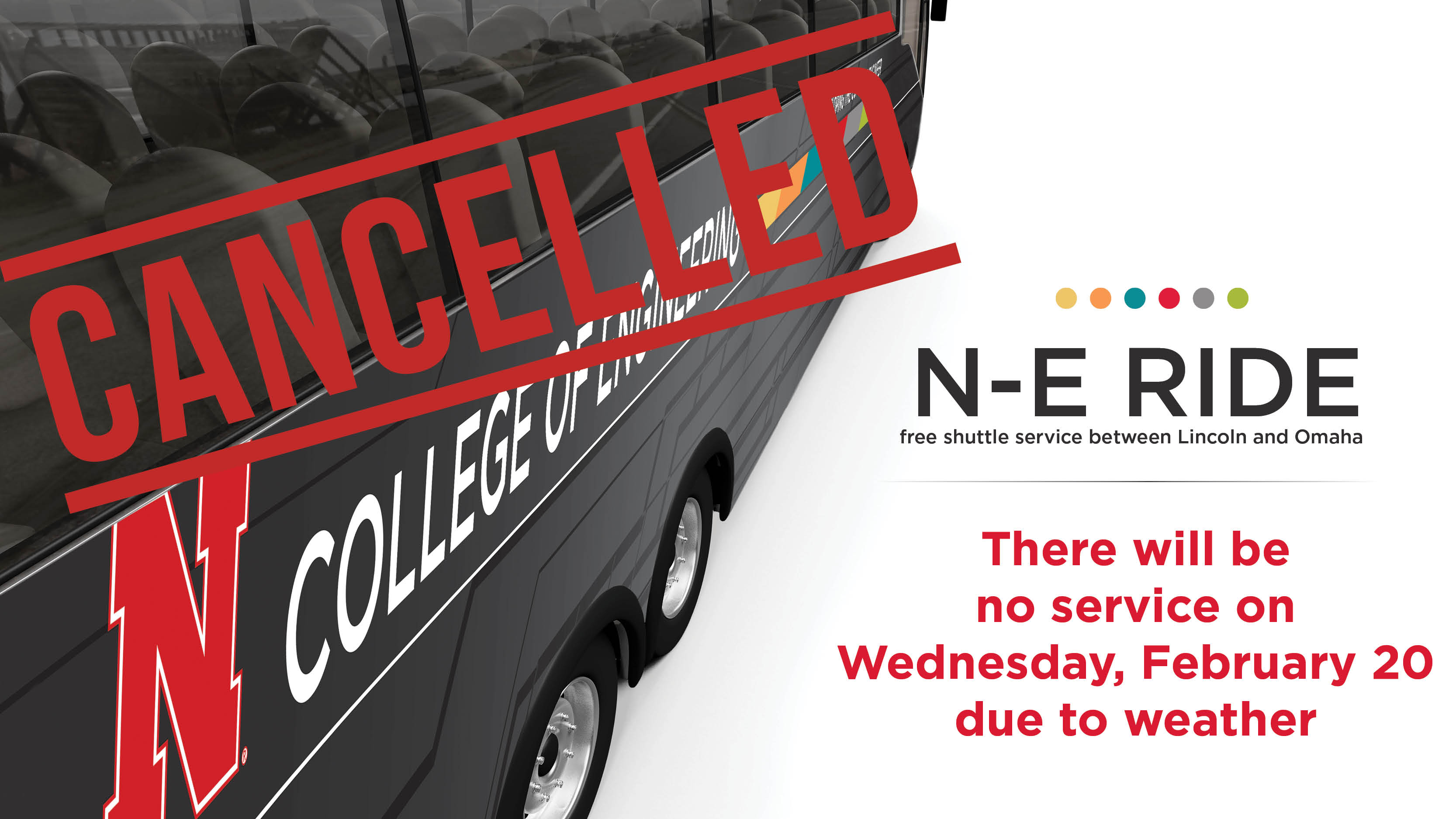 N-E Ride will not be in service Wednesday, Feb. 20.