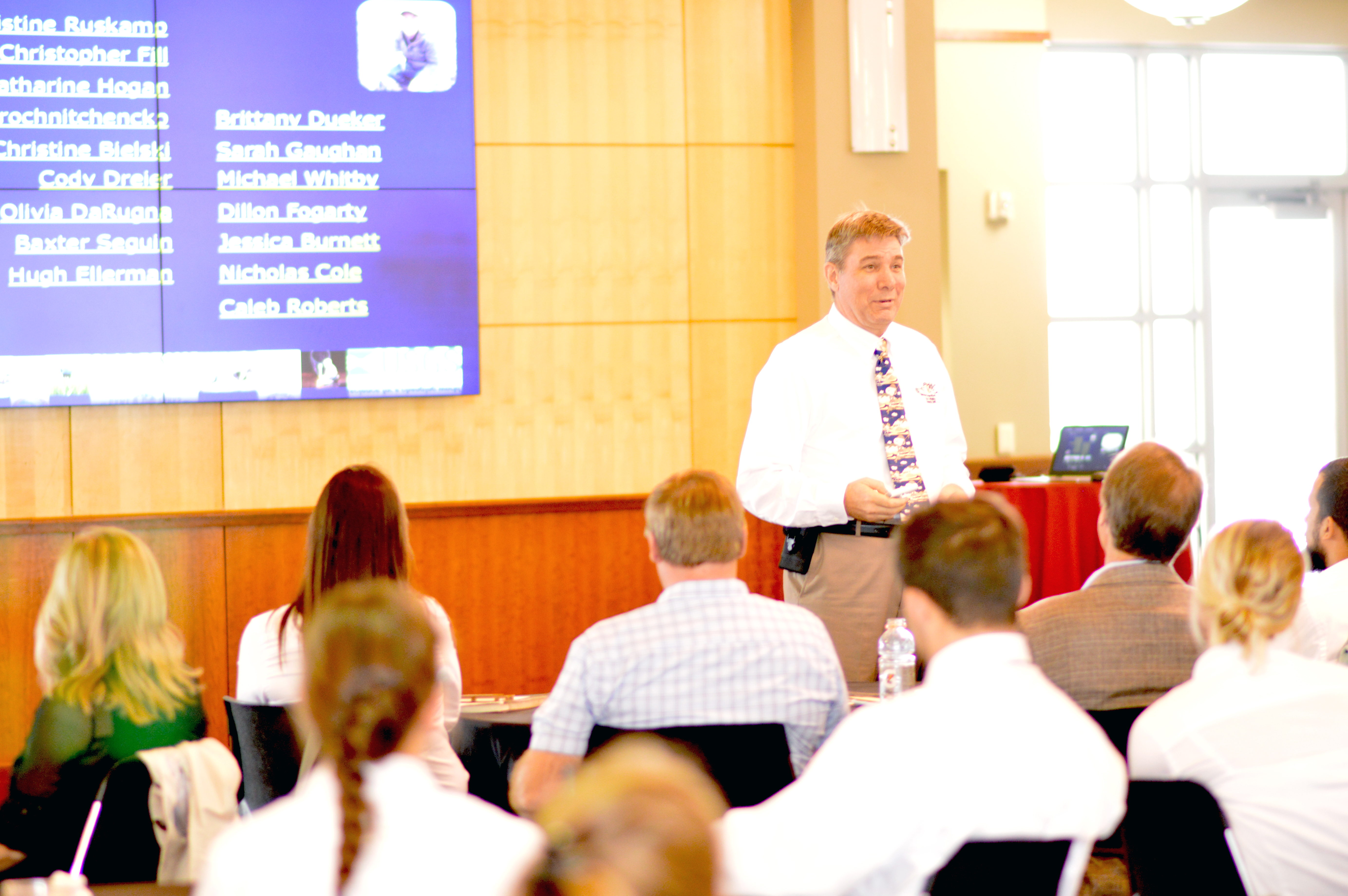 Kevin Pope, then assistant unit leader, addresses the audience during the Nebraska Cooperative Fish and Wildlife Research Unit's annual meeting in fall 2018 in Lincoln. | Natural Resources