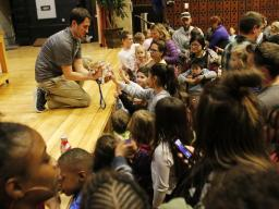 Kip Smith lets the crowd pet the fennec fox after the Wildlife Encounters educational show during the 2018 CASNR Week festivities Tuesday, April 17, 2018, at the School of Natural Resources at the University of Nebraska-Lincoln. CASNR student clubs hosted