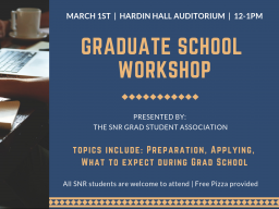 A workshop for student interested in graduate school is set for March 1 in SNR.