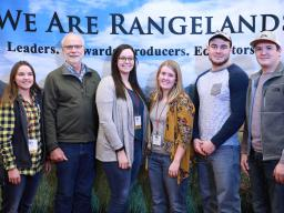 University of Nebraska–Lincoln Range Management Club members Asha Scheideler (from left), club adviser Walt Schacht, Nicole Strand, Ryley Johnson, Nick Sanders and Evan Laible attend the Society of Range Management Meeting in Minneapolis Feb. 11–13.