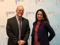 Kelley Buchheister (right) and Randy Philipp, president of AMTE