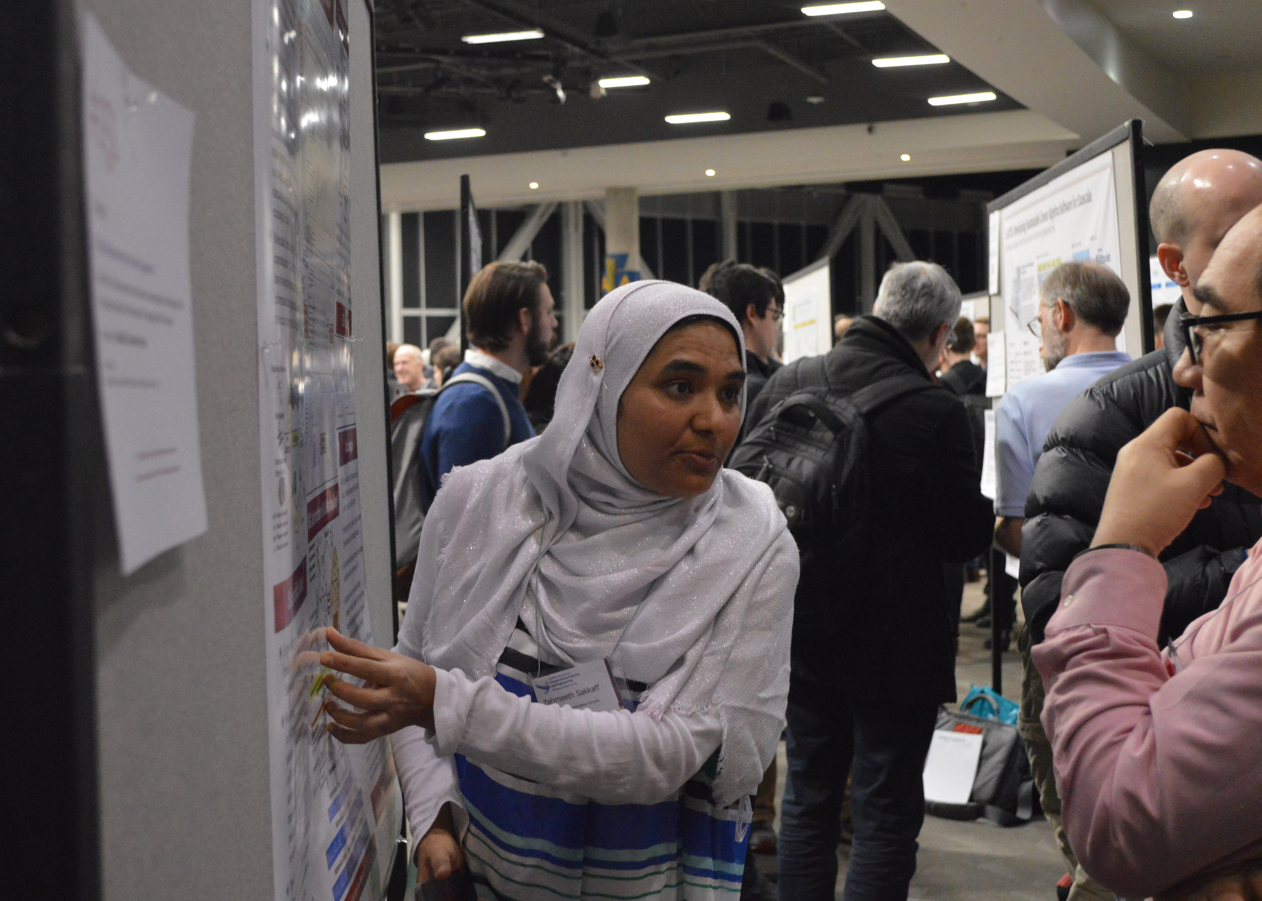 Zahmeeth Sakkaff presents her award-winning best poster at the 2019 SIAM Computational Science and Engineering Conference.