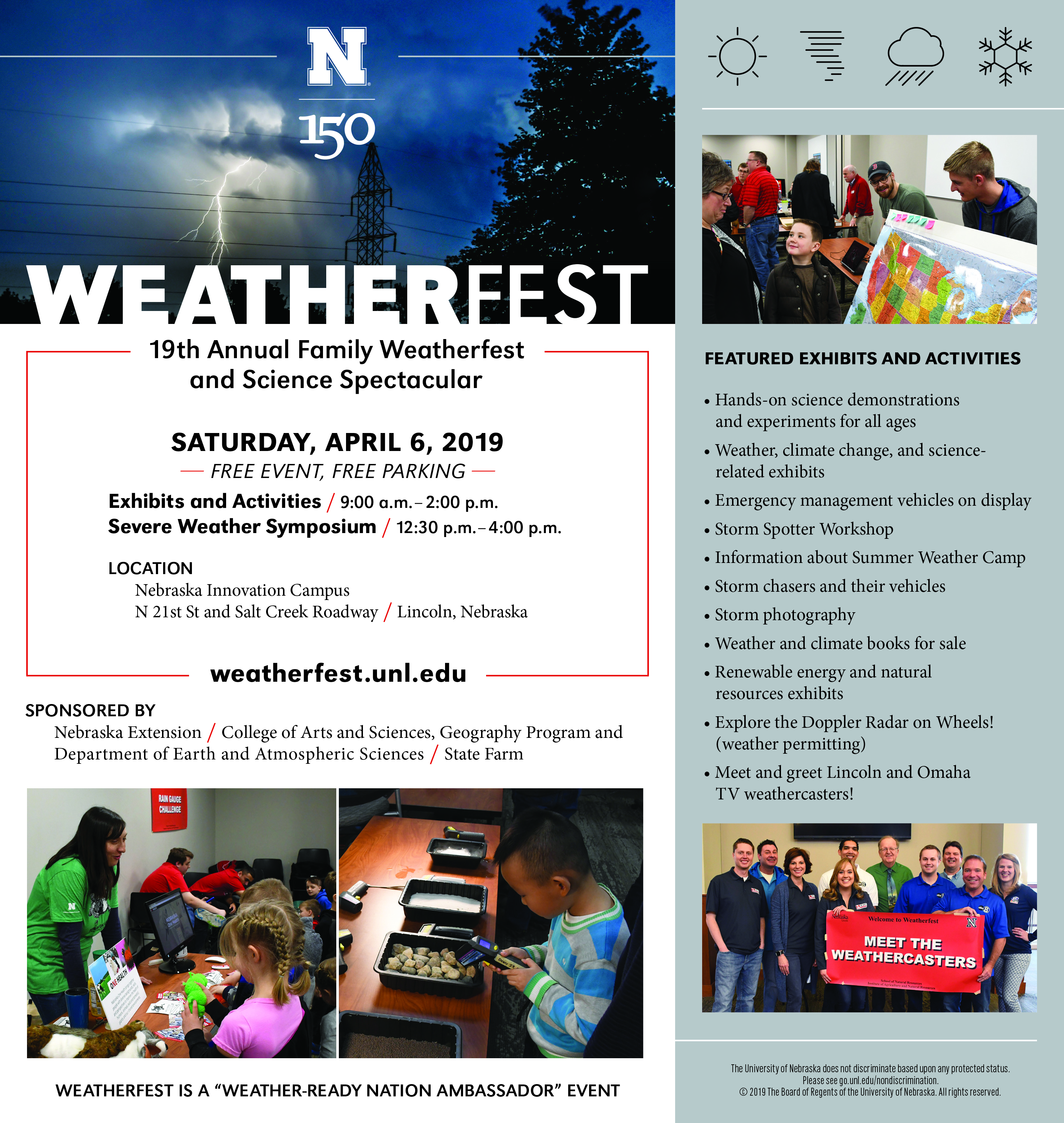 Weatherfest is set for April 6, 2019, at Nebraska Innovation Campus.