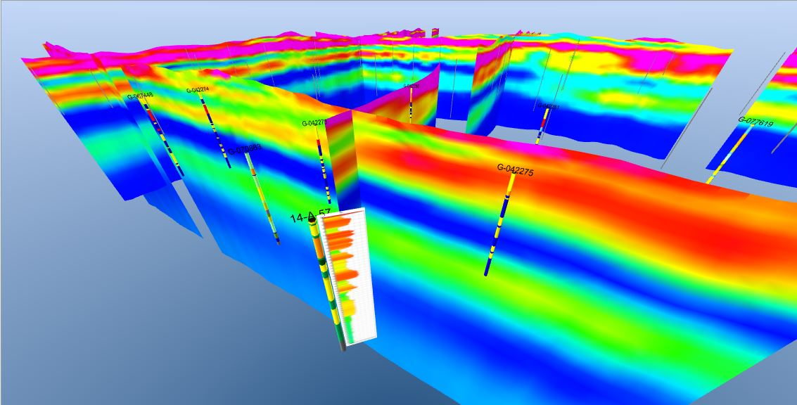 A 3-D view of hydrogeological data in the Nebraska GeoCloud. | Courtesy image
