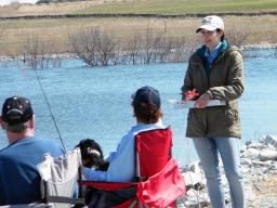 Alexis Fedele interviews anglers in April 2015 at Prairie Queen Lake, in northcentral Sarpy County, Nebraska. / Photo courtesy Nick Cole