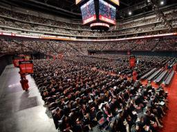 Starting with spring commencement 2019, the undergraduate ceremony will be split into two events — both on May 4. The change will decrease the length of the ceremony and help meet seating limitations on the floor of Pinnacle Bank Arena. | Craig Chandler,