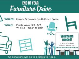 Official event flyer for the furniture drive