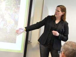 Erin Chambers presents part of the Street Tree Master Plan to city and urban forestry professionals on April 19, 2019, at Hardin Hall. | Shawna Richter-Ryerson, Natural Resources