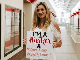 Katelyn Petersen, a senior animal science major, gathered donations and provided veterinary goods to Nebraska flood victims.