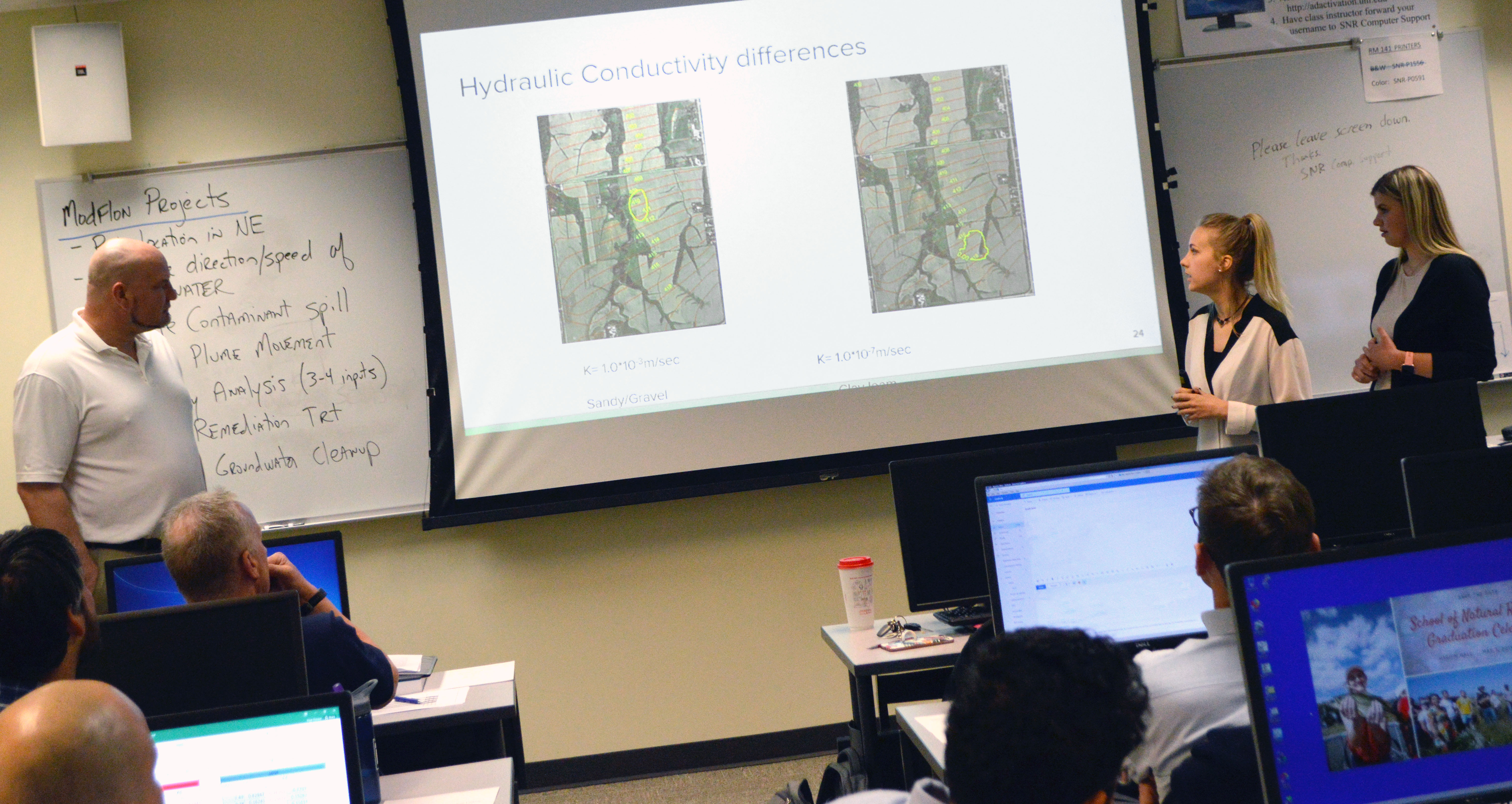 From left, Rob Schroeder, Alexa Davis, and Marisa Mika take turns delivering their presentation to reduce faux toluene contaminants near southwest Beatrice, Nebraska, for the NRES 451 class. | Shawna Richter-Ryerson