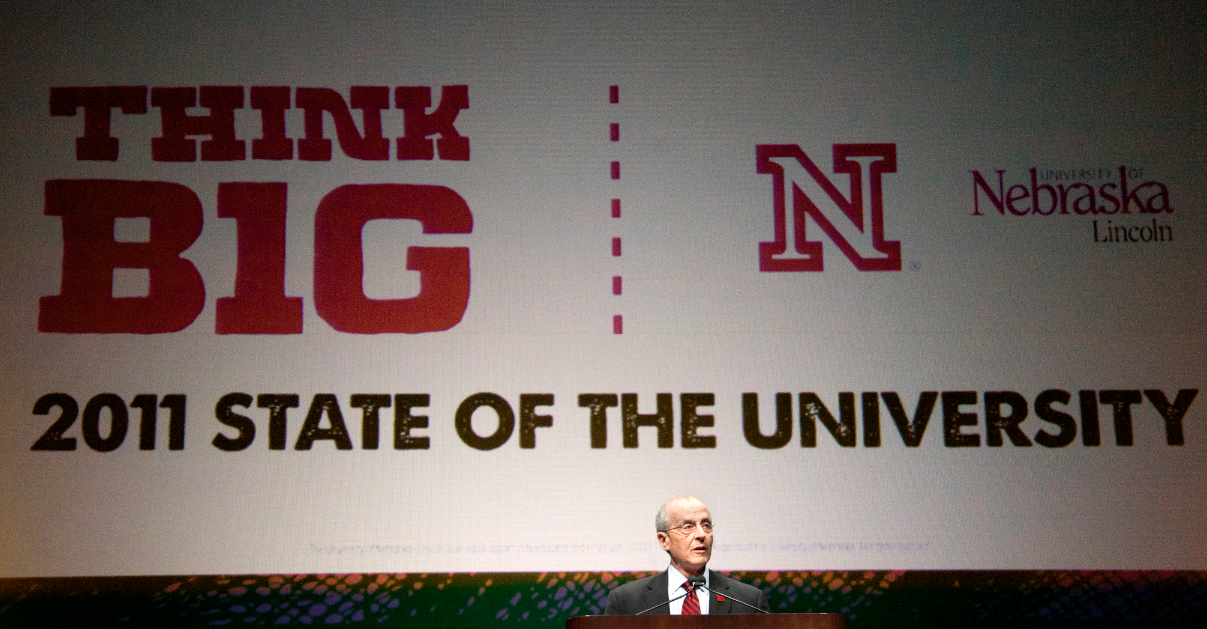 Chancellor Harvey Perlman delivers his 12th State of the University address. More than 960 attended the Sept. 1 speech at the Lied Center for Performing Arts.